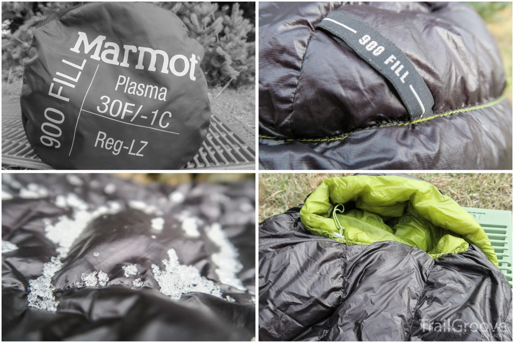 Marmot Plasma 30 Down Sleeping Bag Packed, Fill Power, DWR, and Hood.JPG