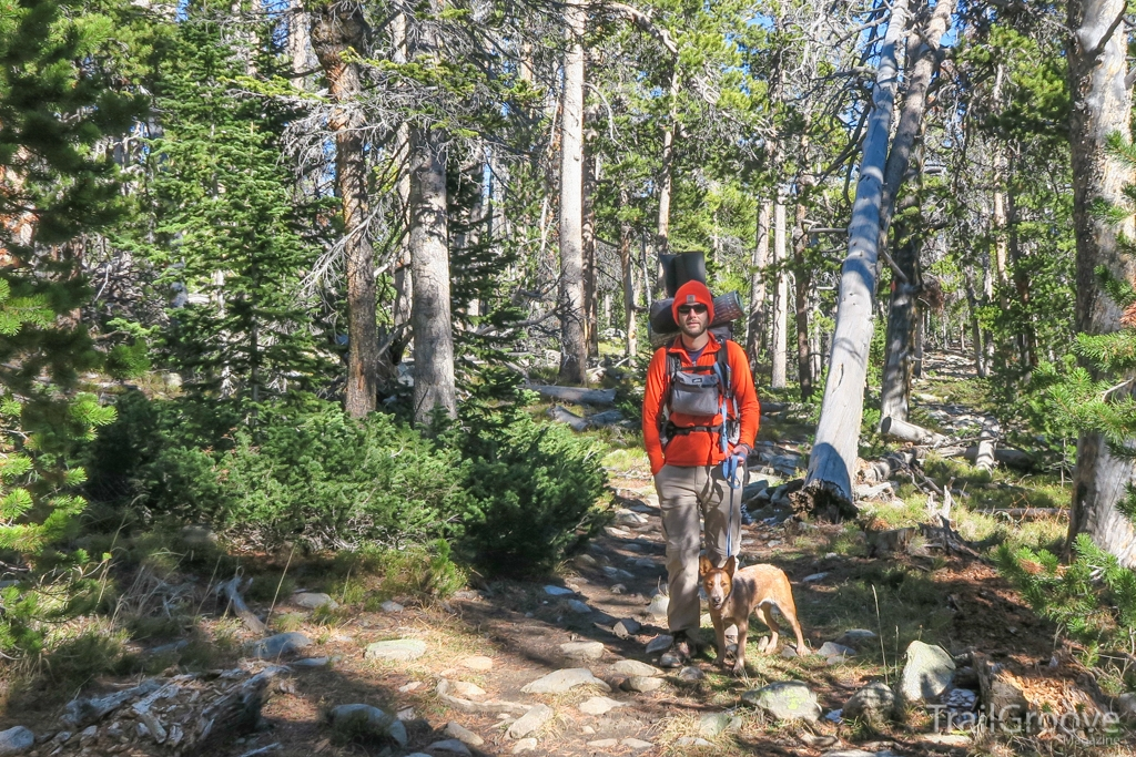 Backpacking on the Trail in Hunting Season Blaze Orange
