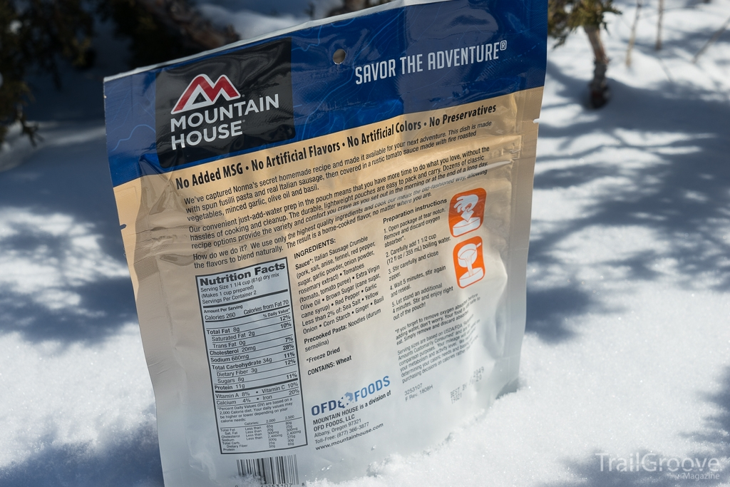 Fusilli Pasta Nutrition and Ingredients from Mountain House