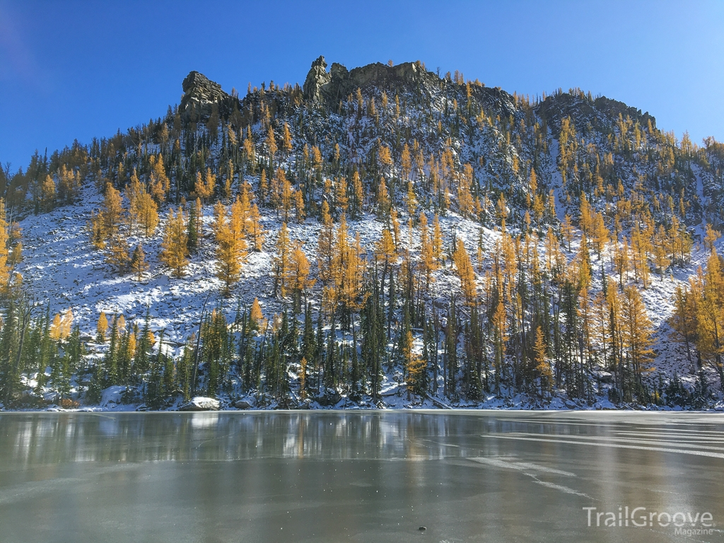 Mountain Lake with Fall Larch Trees